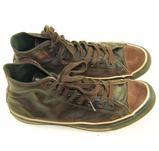 side of Vintage Brown Leather Converse Sneakers