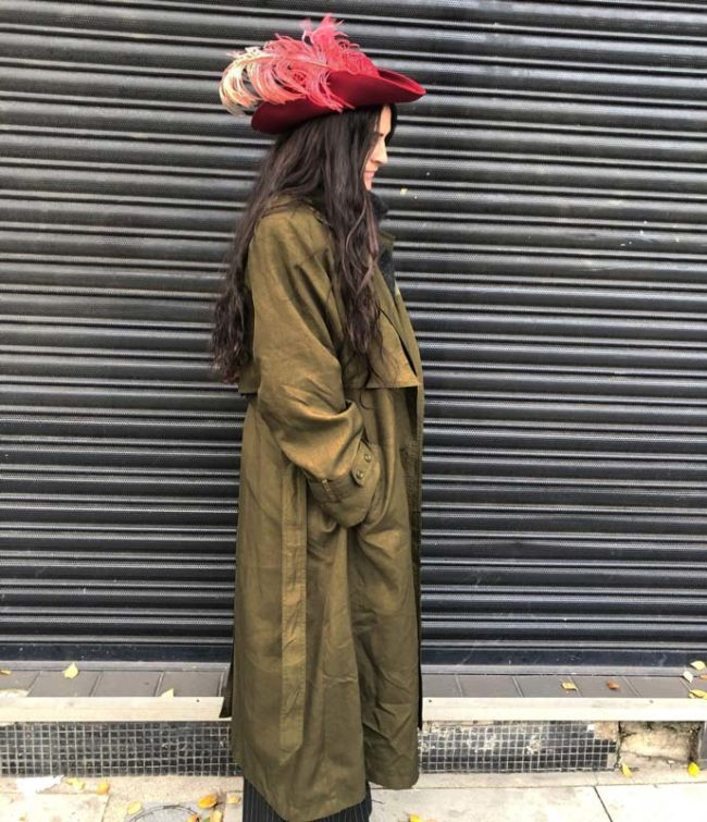 side of Womens Vintage Trench Coat