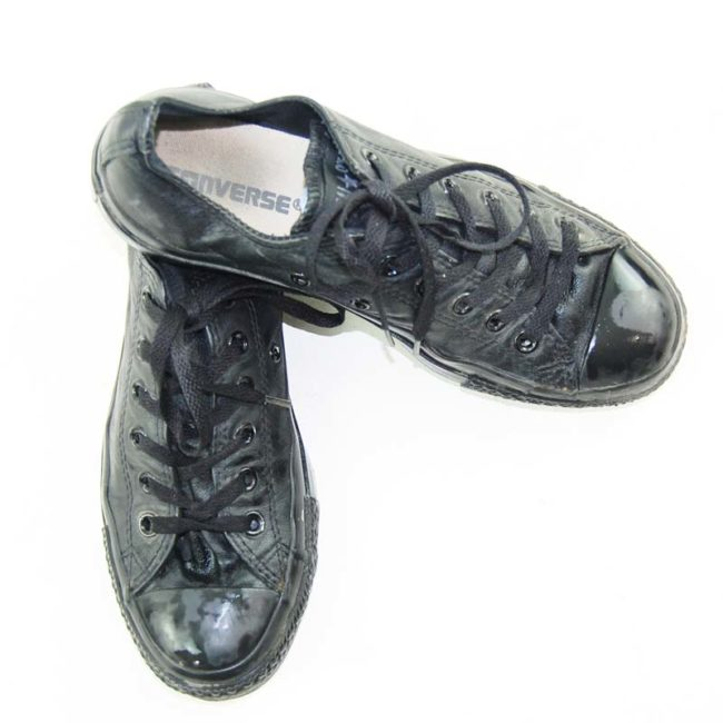 top of Black Real Leather Converse