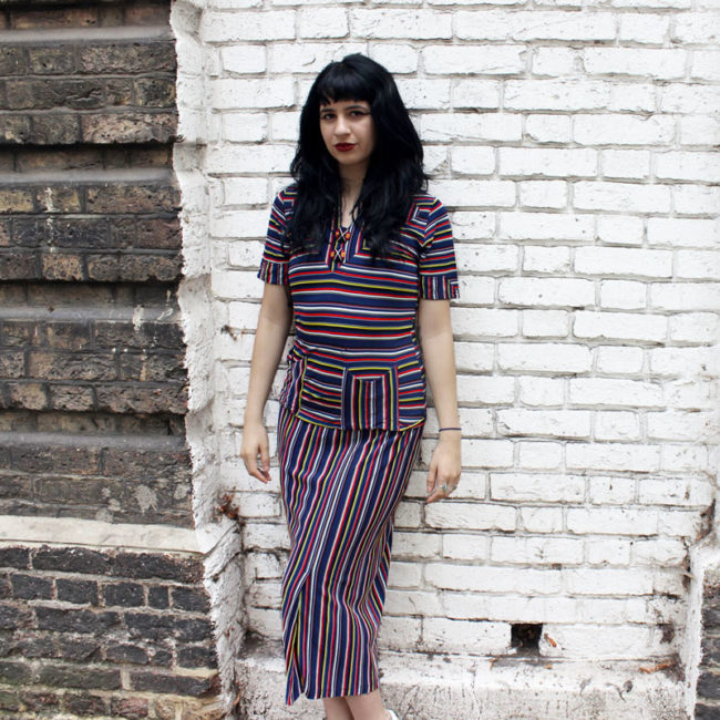 1940s Rainbow Stripes Dress
