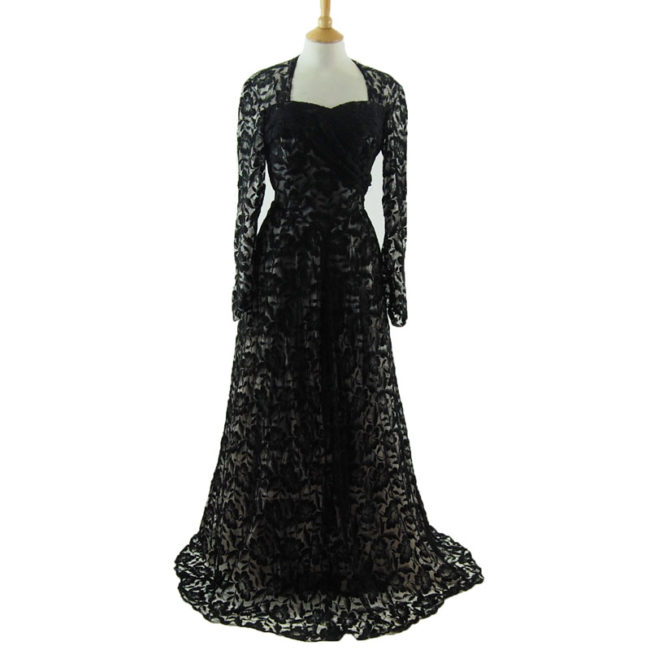 50s Black Lack Evening Dress