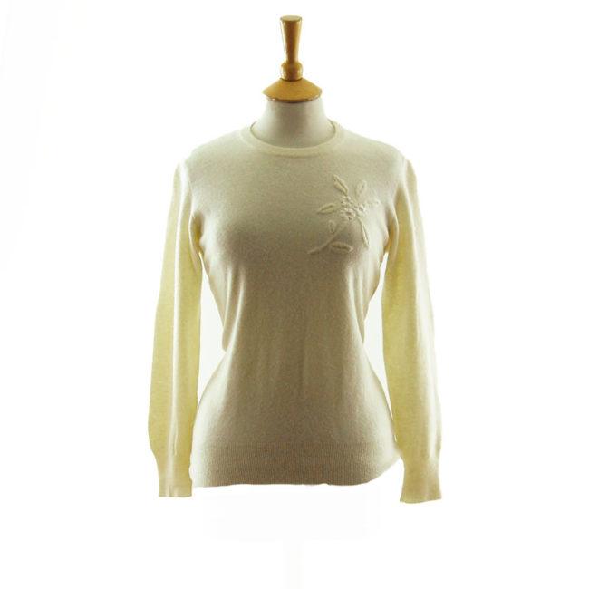 50s Pure Wool White Sweater