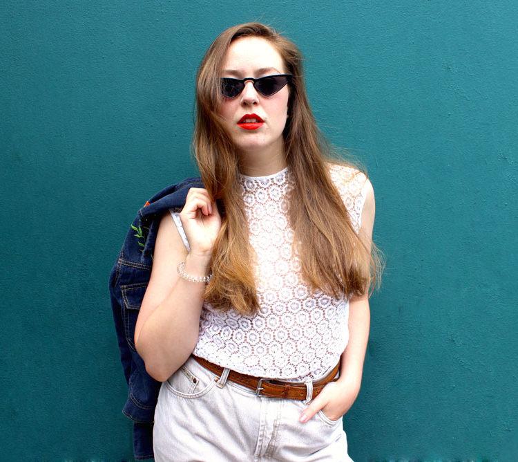 60s Vintage White Floral Lace Vest