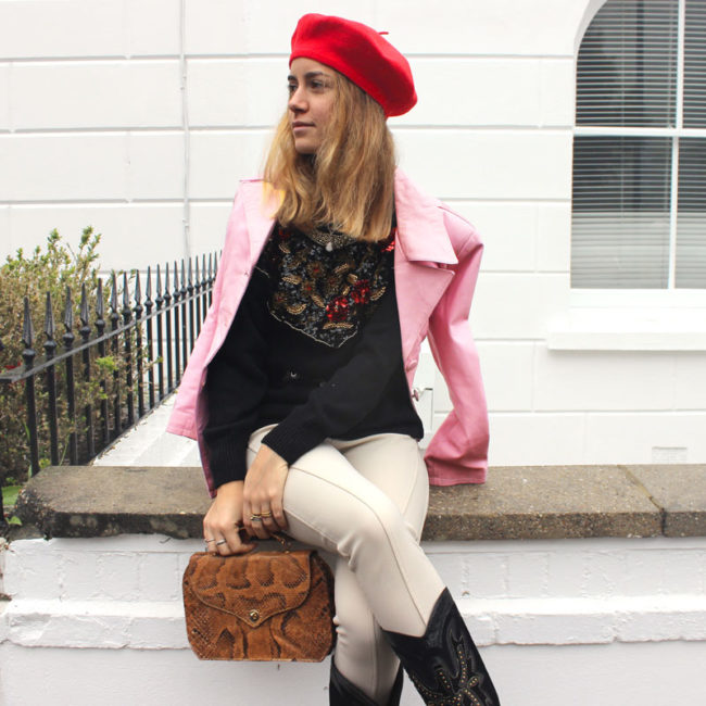 70s Baby Pink Leather Jacket