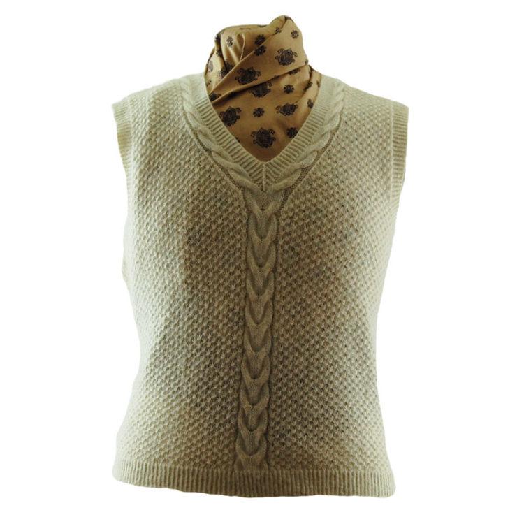 70s Cream Pure Wool Vest