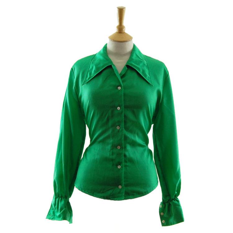 70s Emerald Green Satin Blouse