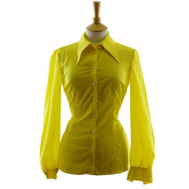 70s Louis London Vibrant Yellow blouse