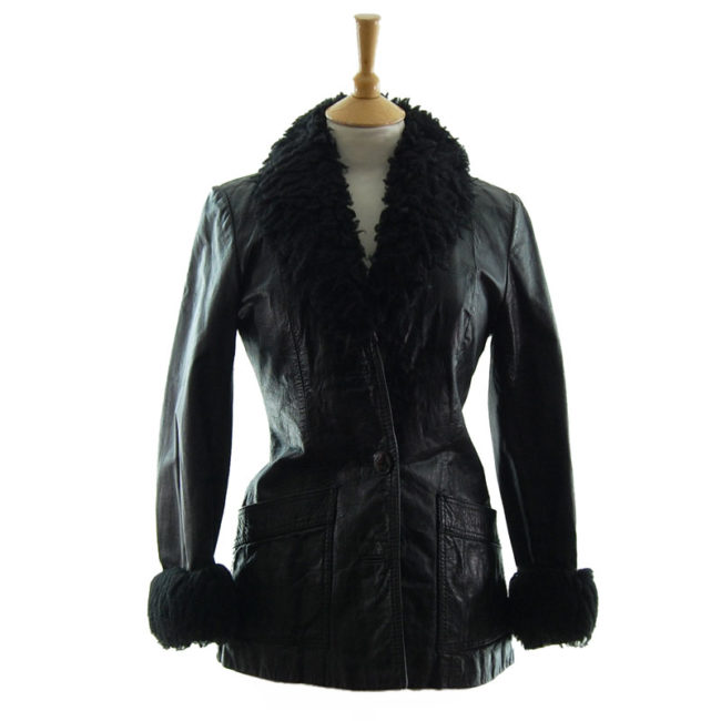 70s Real Leather Synthetic Sheepskin Jacket