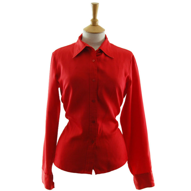 70s Red Western Blouse