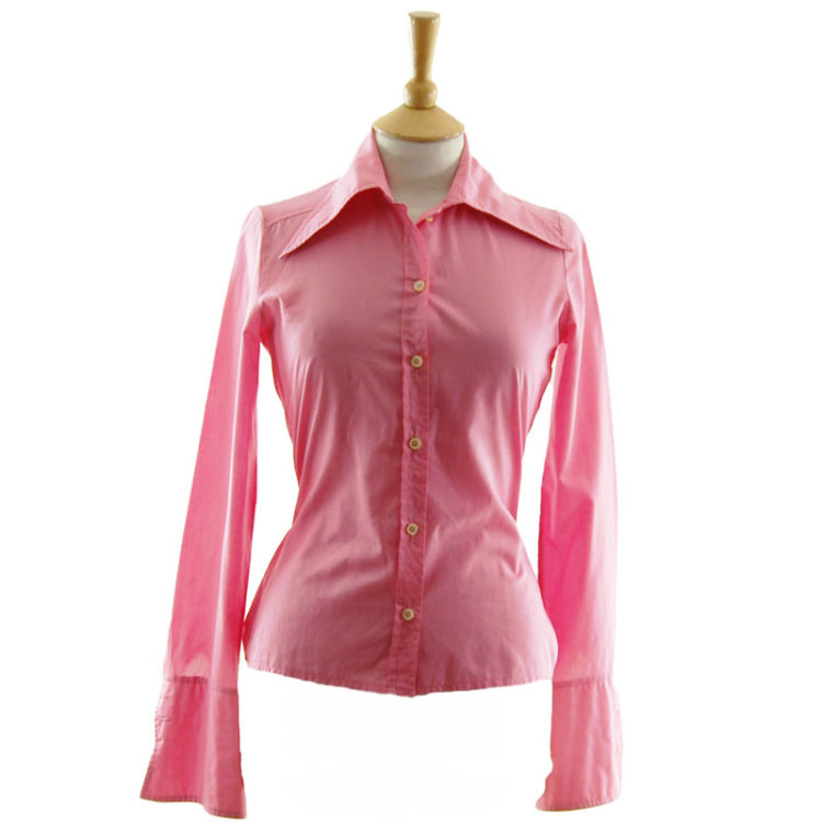 70s Womens Pink Long Collar Shirt
