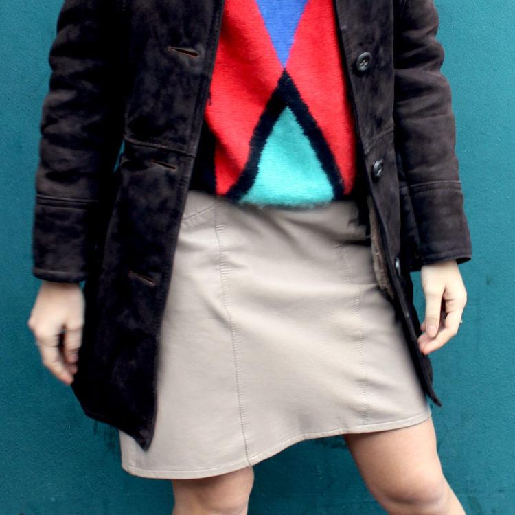 80s Leather Beige Mini Skirt