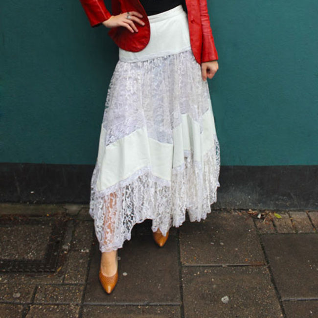80s White Lace And Leather Skirt