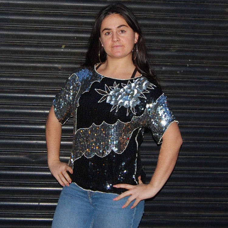 90s Silver And Black Sequined Top
