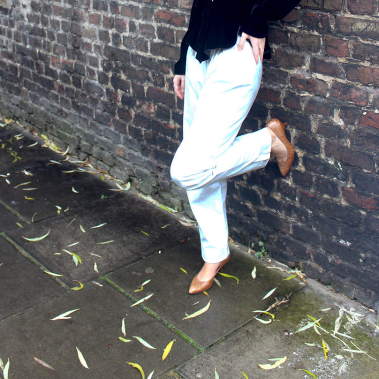 90s White Leather High Waist Trousers