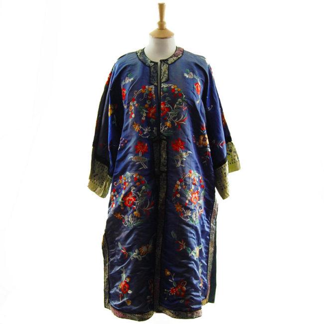 Blue Silk Mandarin Robe