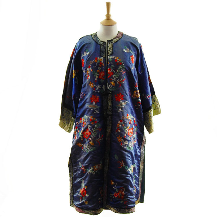 Blue Silk Mandarin Robe