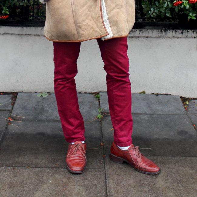 Carhartt Burgundy Straight Leg Trousers