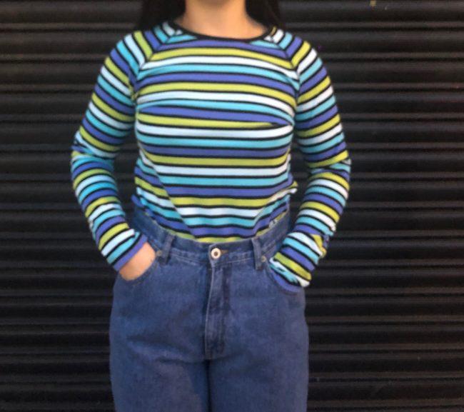 Green And Blue Long Sleeve Tee Shirt
