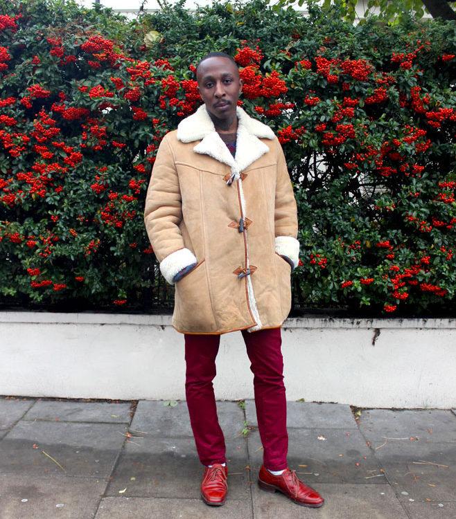 Mens Light Beige Sheepskin Coat