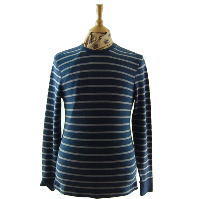Mens Navy And Grey Striped Tee Shirt