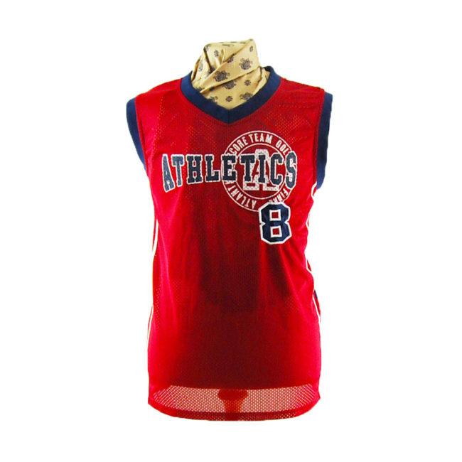 Mens Red Basketball Vest Top
