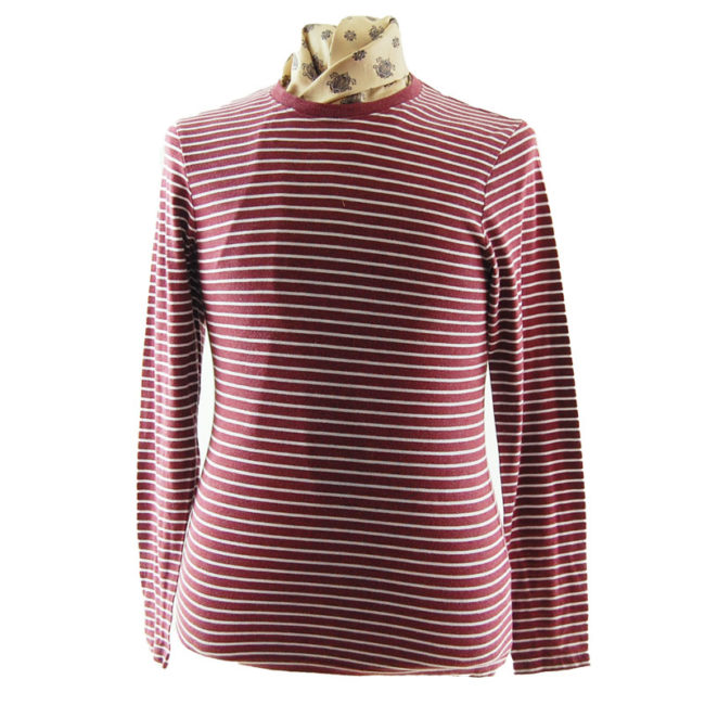 Old Navy Burgundy Striped Tee Shirt