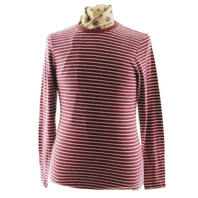 Old Navy Burgundy Striped Tee Shirt