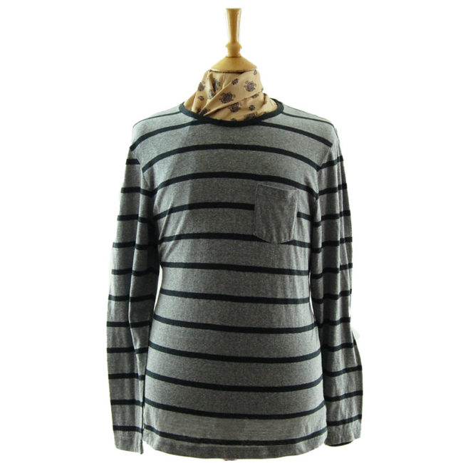 Old Navy Grey Striped Tee Shirt