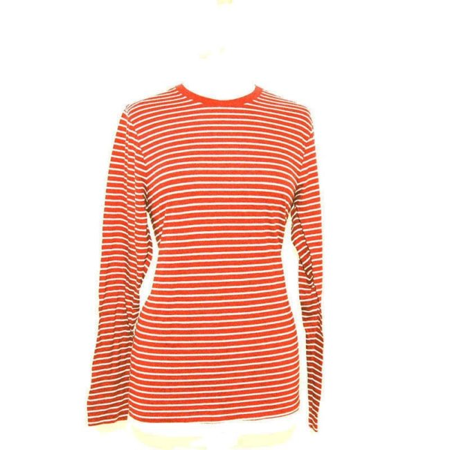 Orange French Striped Long Sleeve Tee Shirt
