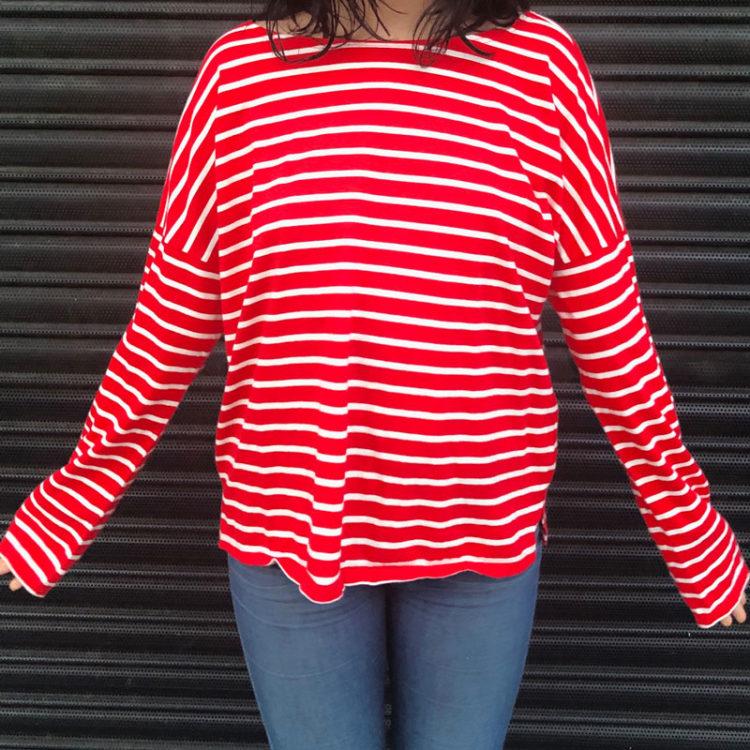 Red Drop Shoulder Long Sleeve Tee Shirt