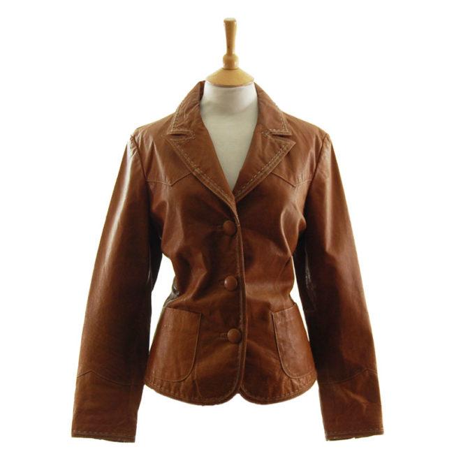 Vintage Tan Leather Womens Jacket