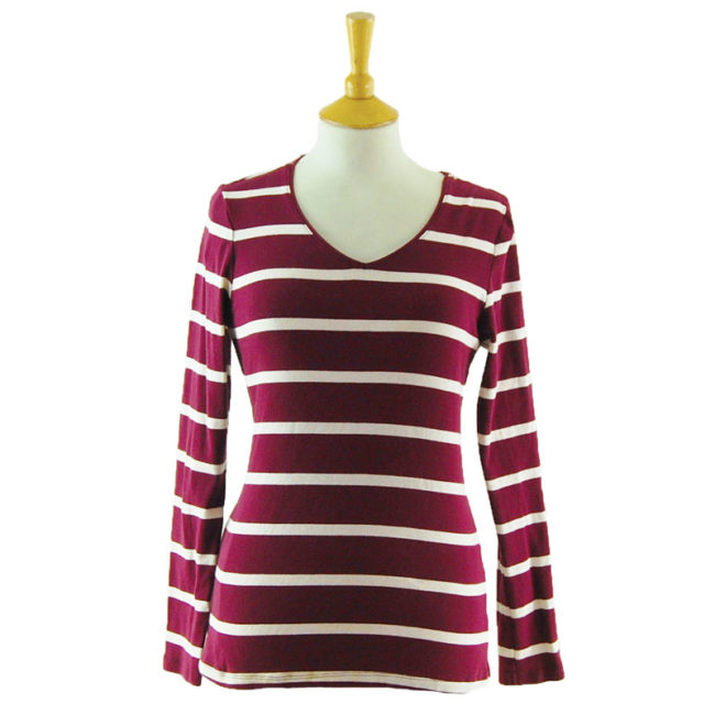 Womens Striped Long Sleeve Tee Shirt
