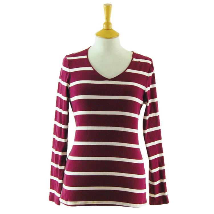 Womens Striped Long Sleeve Tee Shirt