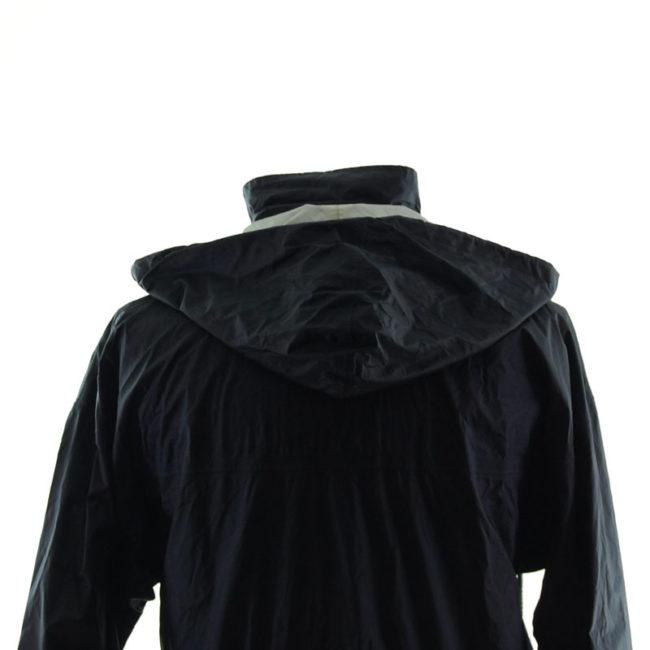 back hood of Adidas Black Windbreaker Jacket