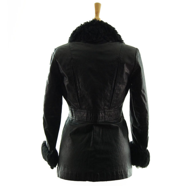 back of 70s Real Leather Synthetic Sheepskin Jacket