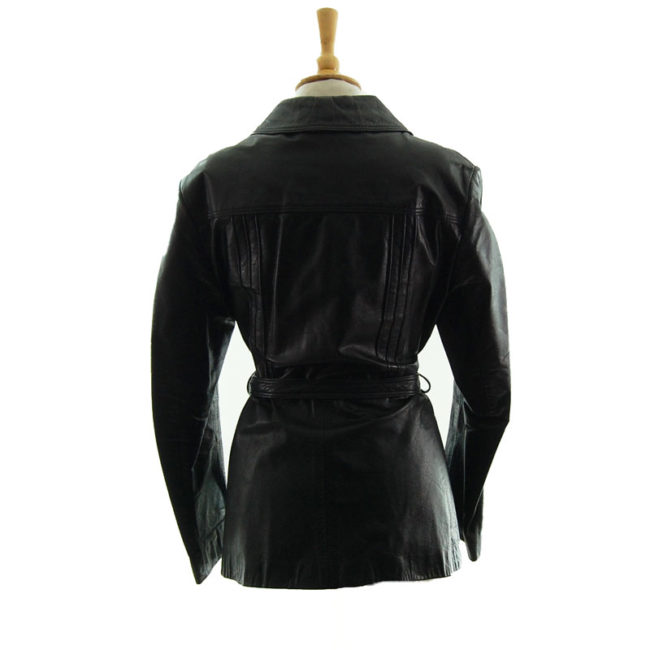 back of 70s Vintage Jet Black Leather Jacket
