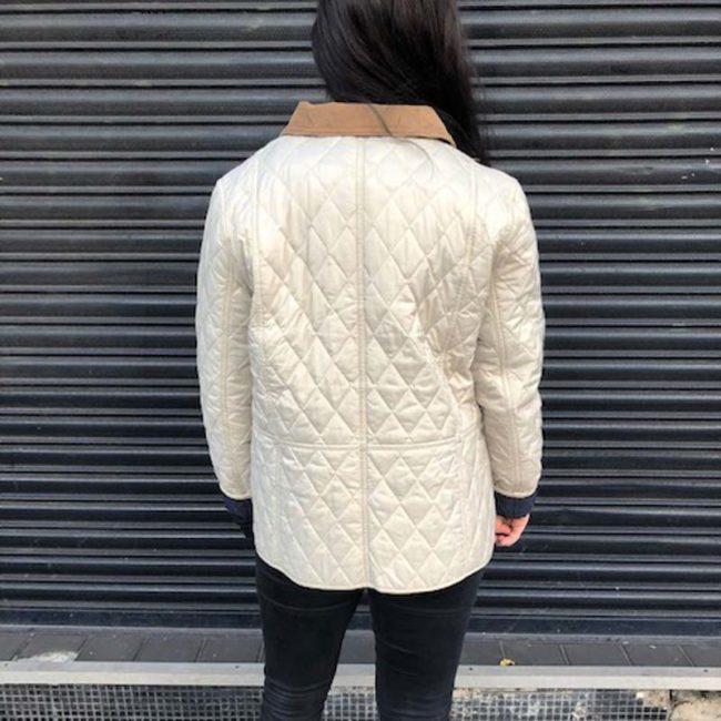 back of Barbour Cream Diamond Quilt Coat