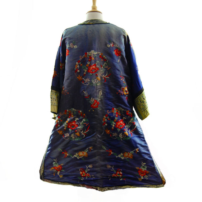 back of Blue Silk Mandarin Robe