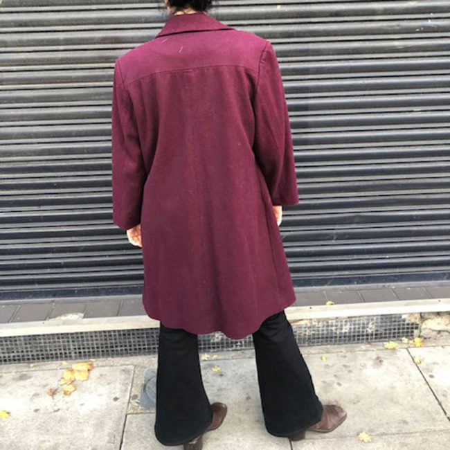 back of Deep Purple Womens Coat