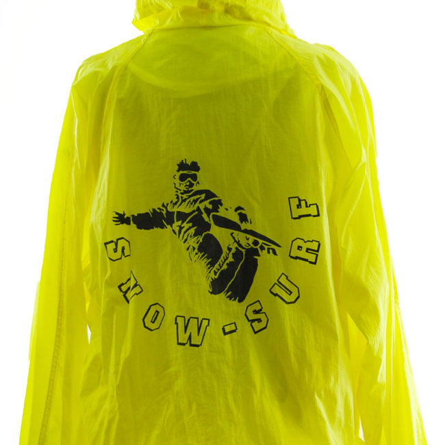 back of Florescent Yellow Windbreaker Jacket
