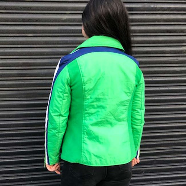 back of Lime Green Skiing Jacket