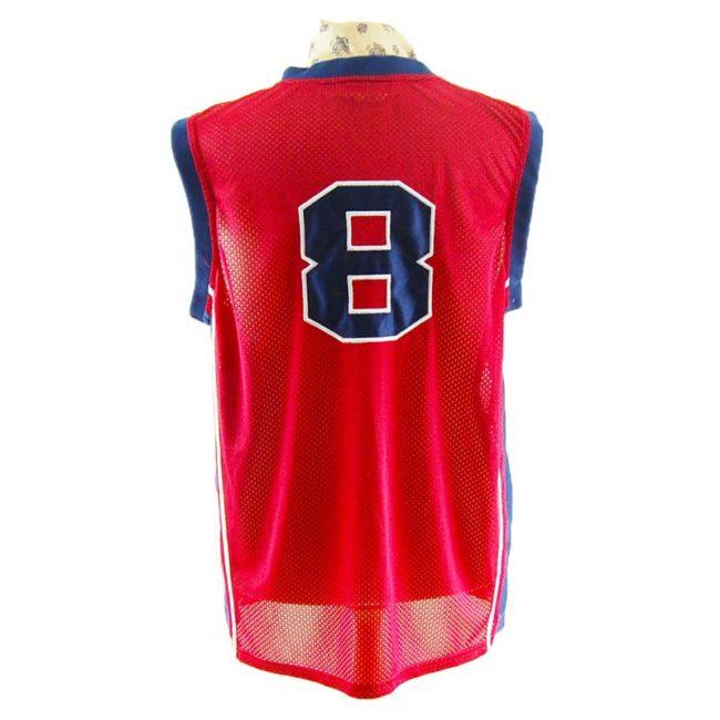 back of Mens Red Basketball Vest Top