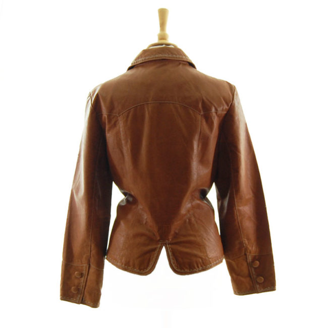 back of Vintage Tan Leather Womens Jacket