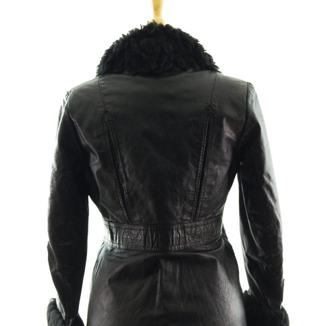close back up of 70s Real Leather Synthetic Sheepskin Jacket