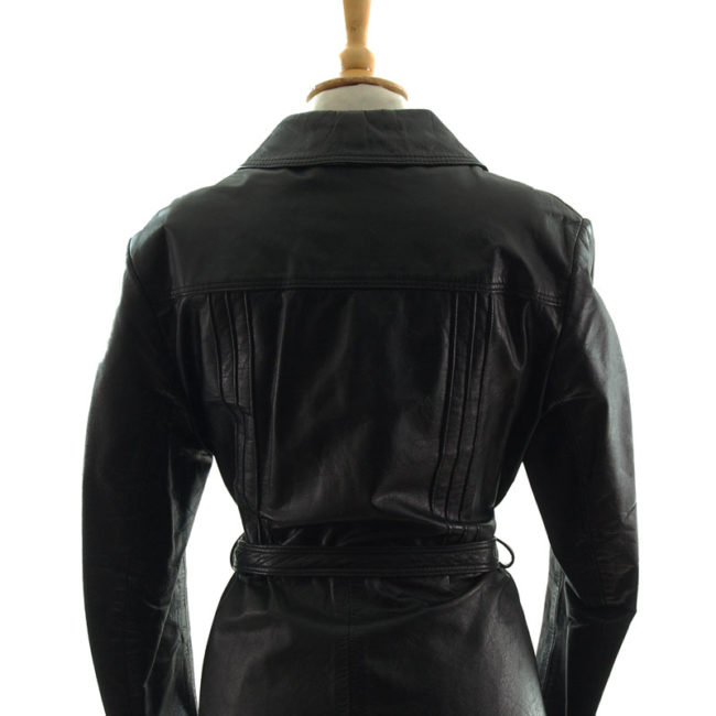 close back of 70s Vintage Jet Black Leather Jacket