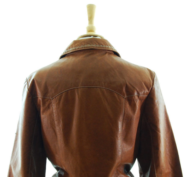 close back of Vintage Tan Leather Womens Jacket