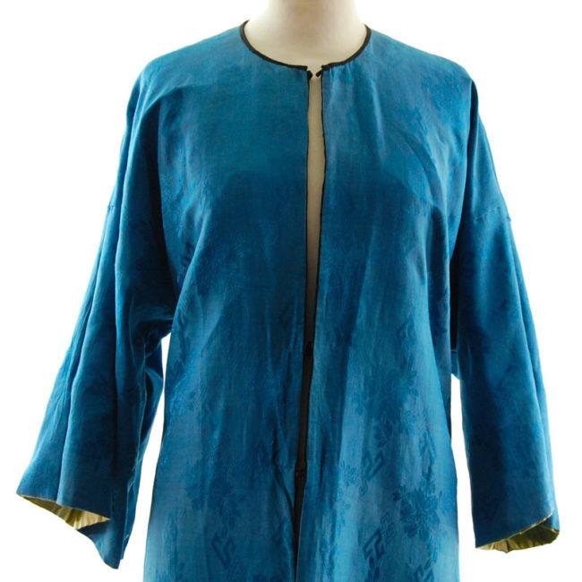 close lining of Blue Silk Mandarin Robe