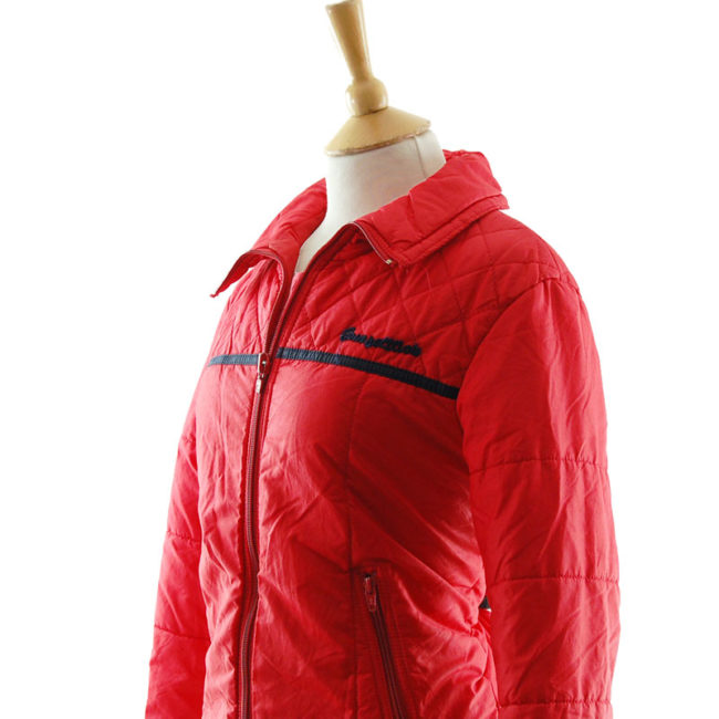 close side of Vibrant Red Skiing Jacket