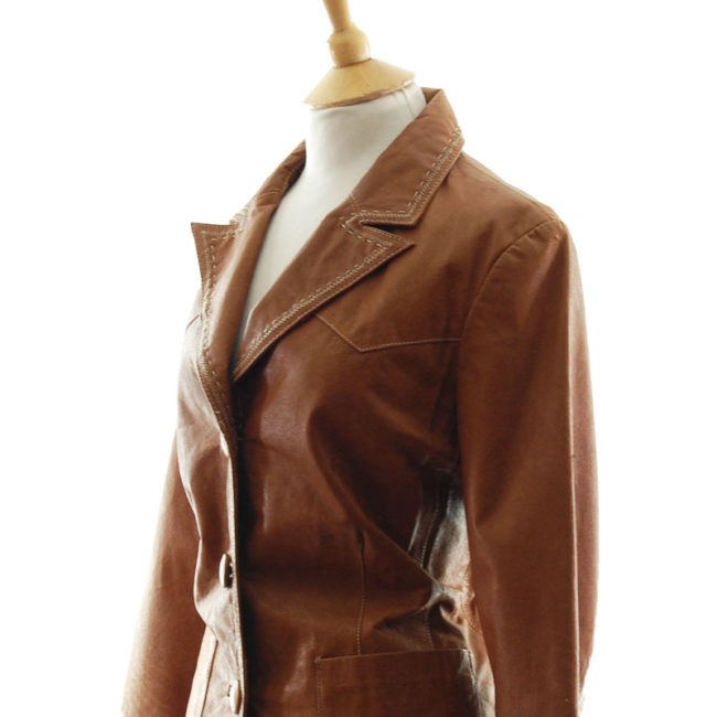 close side of Vintage Tan Leather Womens Jacket
