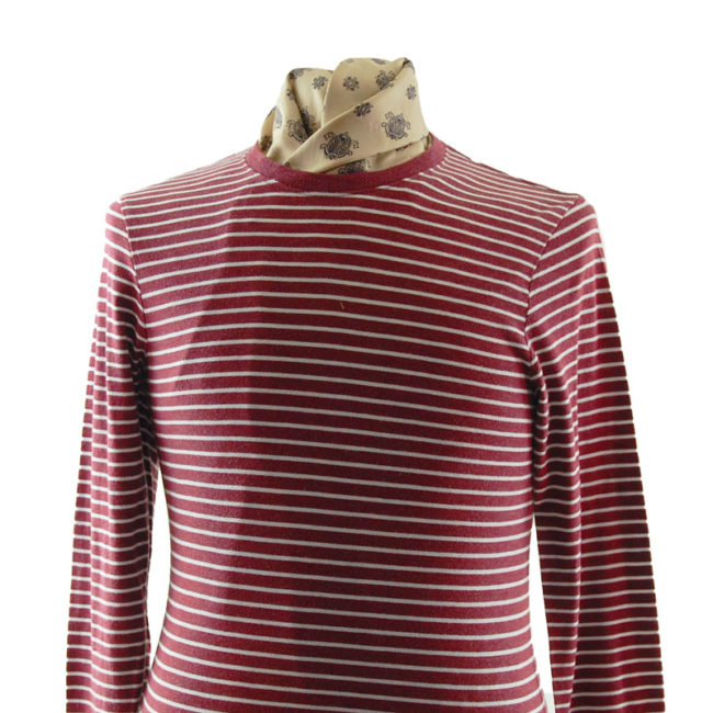 Old Navy close up of Burgundy Striped Tee Shirt